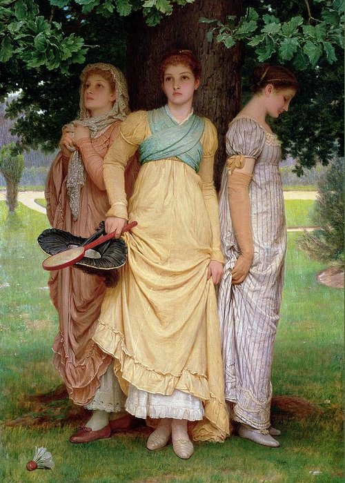 Shelter Greeting Card featuring the painting A Summer Shower by Charles Edward Perugini