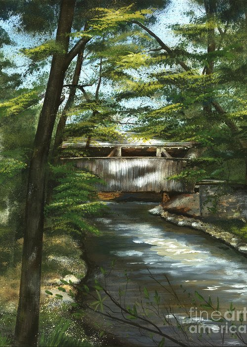 Covered Bridge Greeting Card featuring the painting A Summer Walk Along The Creek by Nancy Patterson