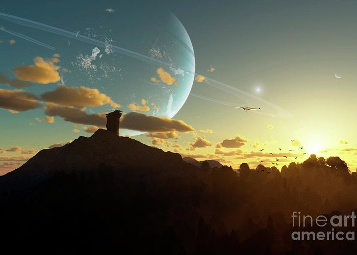 Artwork Greeting Card featuring the digital art A Sunset On A Forested Moon Which by Brian Christensen