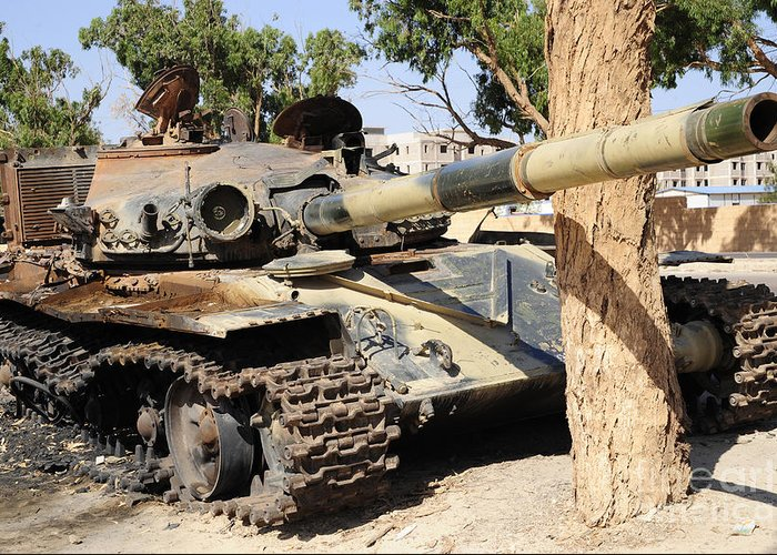 Benghazi Greeting Card featuring the photograph A T-72 Tank Destroyed By Nato Forces by Andrew Chittock