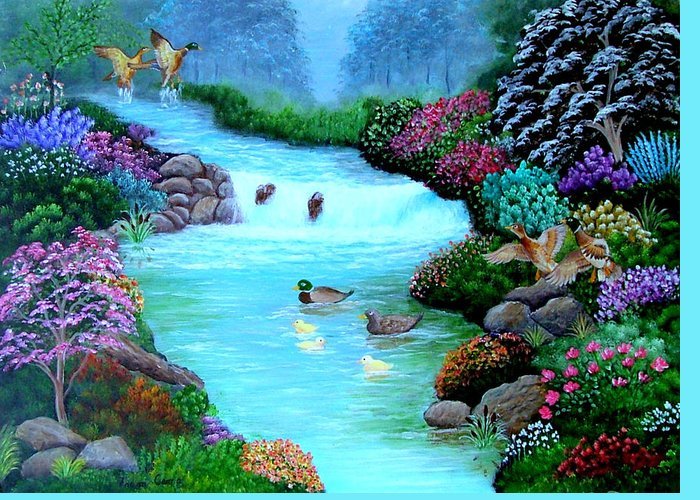 Landscape--ducks--stream--flowers-wildlife Greeting Card featuring the painting A Taste Of Heaven by Fram Cama