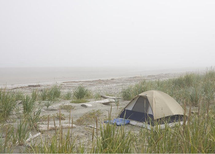 Queen Charlotte Islands Greeting Card featuring the photograph A Tent Sits In The Dunes By The Beach by Taylor S. Kennedy