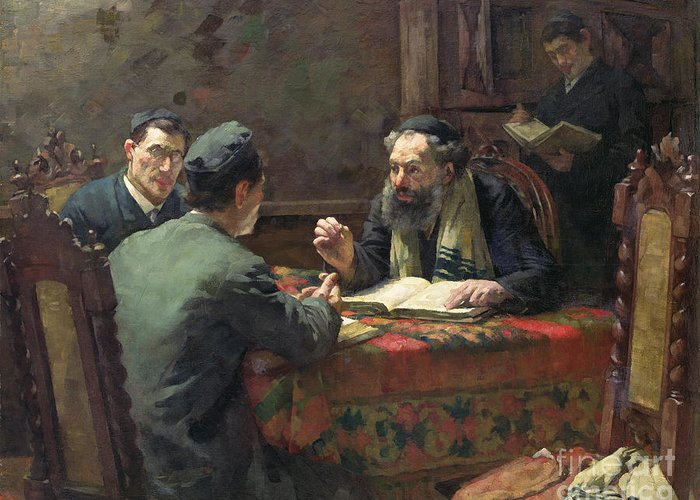 Interior; Jewish; Rabbi; Discussion; Talking; Religious Skull-cap; Religion Greeting Card featuring the painting A Theological Debate by Eduard Frankfort