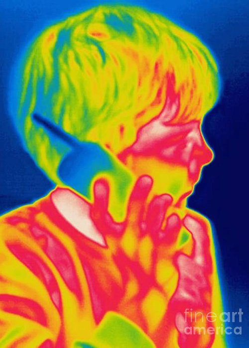 Thermogram Greeting Card featuring the photograph A Thermogram Of A Boy Talking by Ted Kinsman