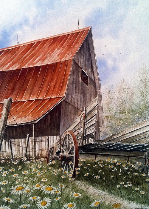 Barn Greeting Card featuring the painting A Time For Daiseys by Don F Bradford