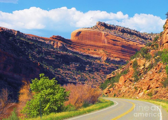Sand Stone Feature Above Hwy 141 Southwestern Colorado Greeting Card featuring the digital art A Turn In The Road by Annie Gibbons