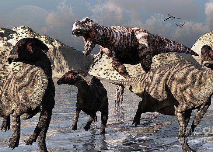 Growl Greeting Card featuring the digital art A Tyrannosaurus Rex Moves by Mark Stevenson