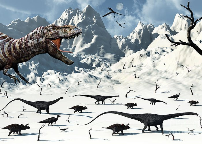 No People Greeting Card featuring the digital art A Tyrannosaurus Rex Stalks A Mixed by Mark Stevenson