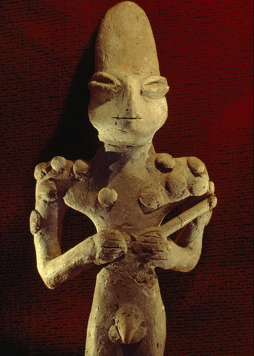 Day Greeting Card featuring the photograph A Ubaid Terra-cotta Fiqure Dating by Lynn Abercrombie