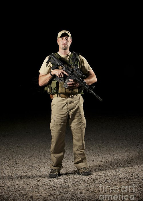 Equipment Greeting Card featuring the photograph A U.s. Police Officer Contractor by Terry Moore