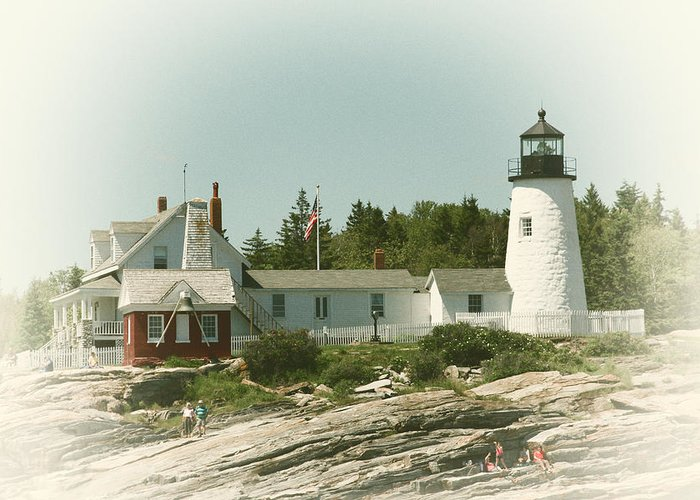 Lighthouse Greeting Card featuring the photograph A View From The Water by Karol Livote