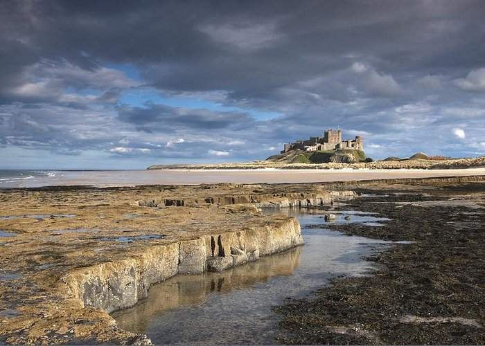 Northumberland Greeting Card featuring the photograph A View Of Bamburgh Castle Bamburgh by John Short