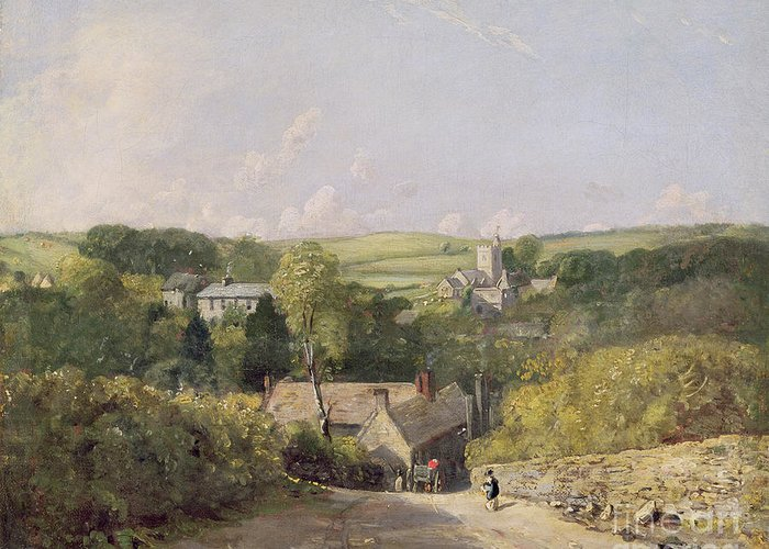Xyc158030 Greeting Card featuring the photograph A View Of Osmington Village With The Church And Vicarage by John Constable