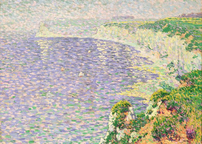 Pointillist Greeting Card featuring the painting A View Of The Cliffs Of Etretat by Claude Emile Schuffenecker