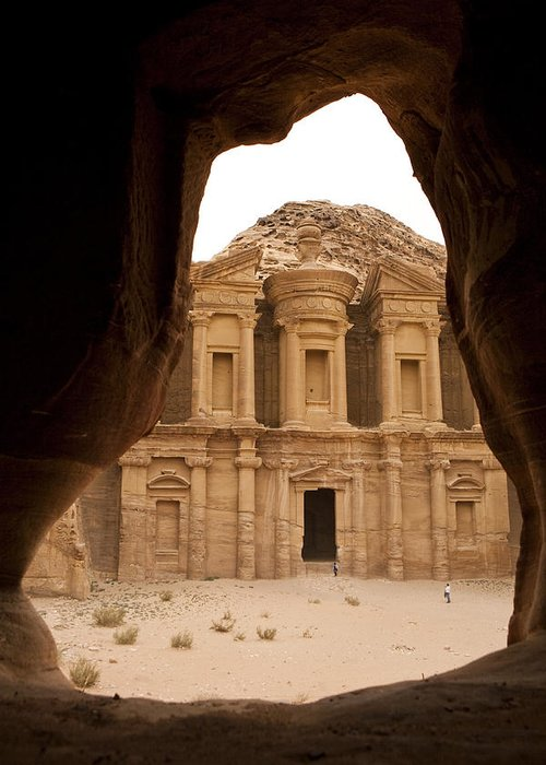 Petra Greeting Card featuring the photograph A View Of The Monastary In Petra by Taylor S. Kennedy