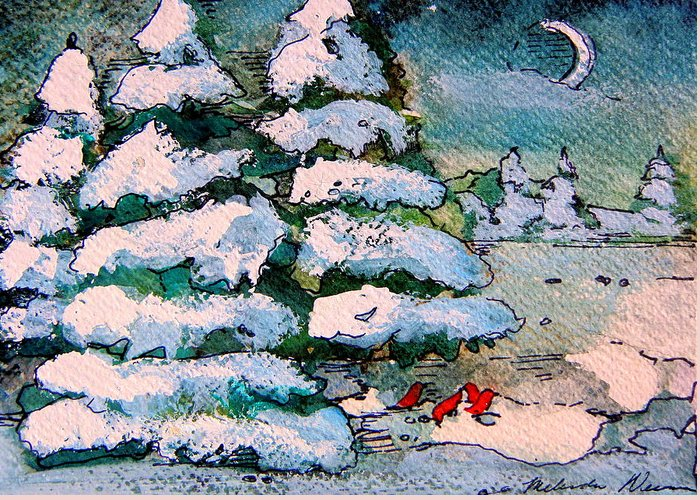 Christmas Greeting Card featuring the painting A Winter Feast by Mindy Newman