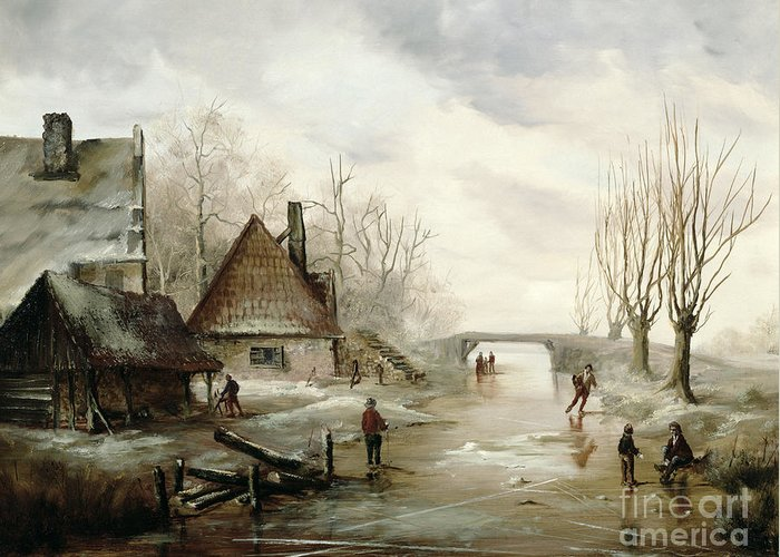 A Winter Landscape With Figures Skating In The Foreground Greeting Card featuring the painting A Winter Landscape With Figures Skating by Dutch School