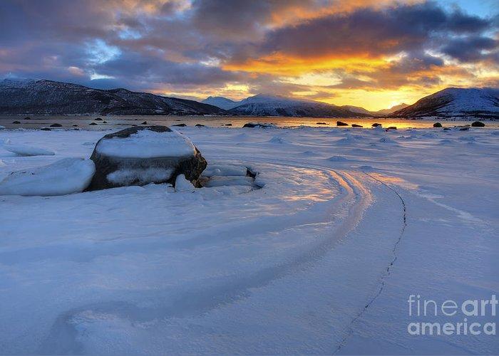 Evenskjer Greeting Card featuring the photograph A Winter Sunset Over Tjeldsundet by Arild Heitmann