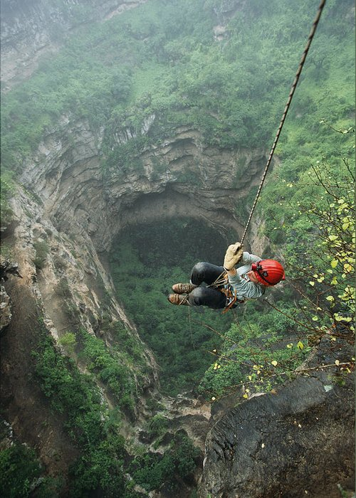 Outdoors Greeting Card featuring the photograph A Woman Climbs Out Of Tawi Attair by Stephen Alvarez