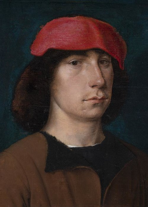 Young Greeting Card featuring the painting A Young Man In A Red Cap by Michiel Sittow