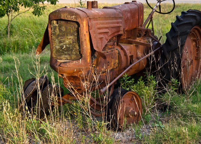 Tractor Greeting Card featuring the photograph Abandonded Farm Tractor 1 by Douglas Barnett