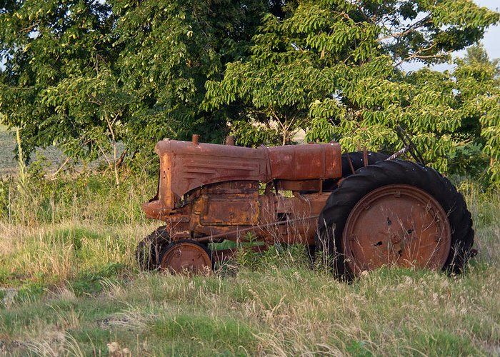 Tractor Greeting Card featuring the photograph Abandonded Farm Tractor 2 by Douglas Barnett