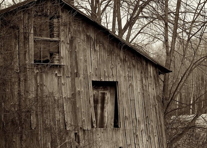 Square Greeting Card featuring the photograph Abandoned Farmstead Facade by John Stephens