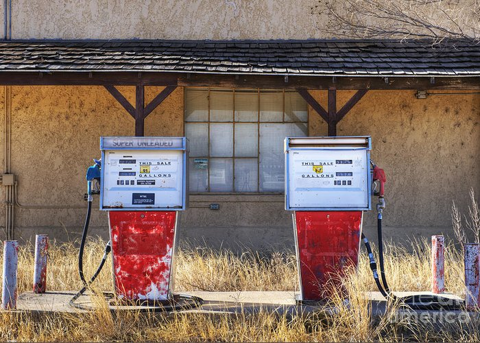 Abandoned Greeting Card featuring the photograph Abandoned Gas Pumps And Station by Dave & Les Jacobs