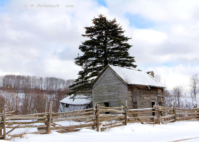 Rail Fence Greeting Card featuring the photograph Abandoned Home by Carolyn Postelwait