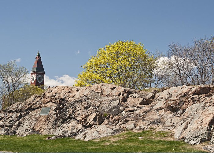 Rocks Greeting Card featuring the photograph Abbott Hall From Crocker Park by Ruth H Curtis