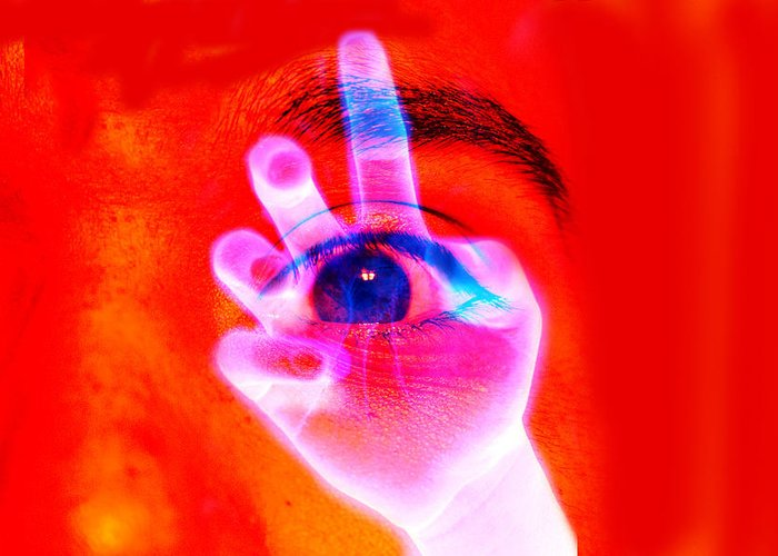 Alien Weird Shocking Eye Red Aware Enlightenment Greeting Card featuring the photograph Abduction by Louie Villa