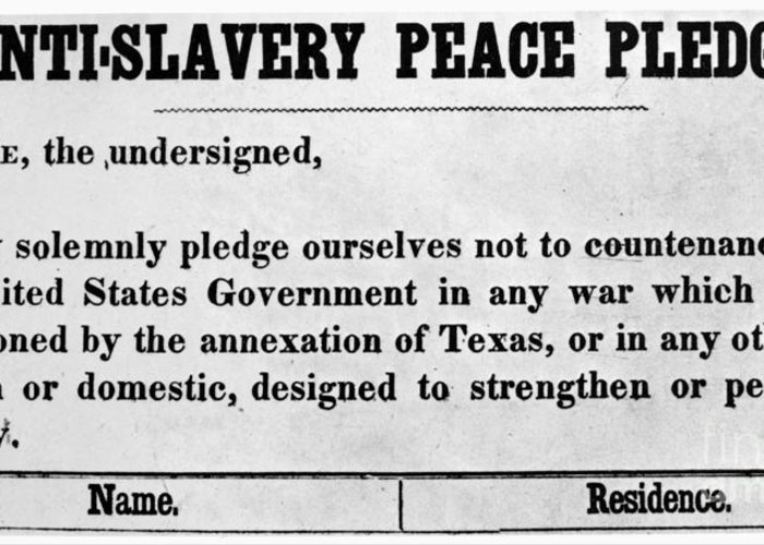 1845 Greeting Card featuring the photograph Abolitionist Peace Pledge by Granger