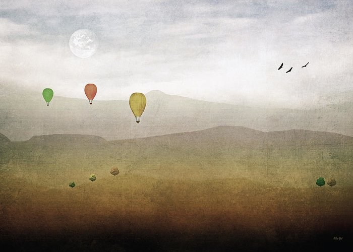 Multi Colored Hot Air Balloons Greeting Card featuring the photograph Above The Rolling Hills by Tom York Images