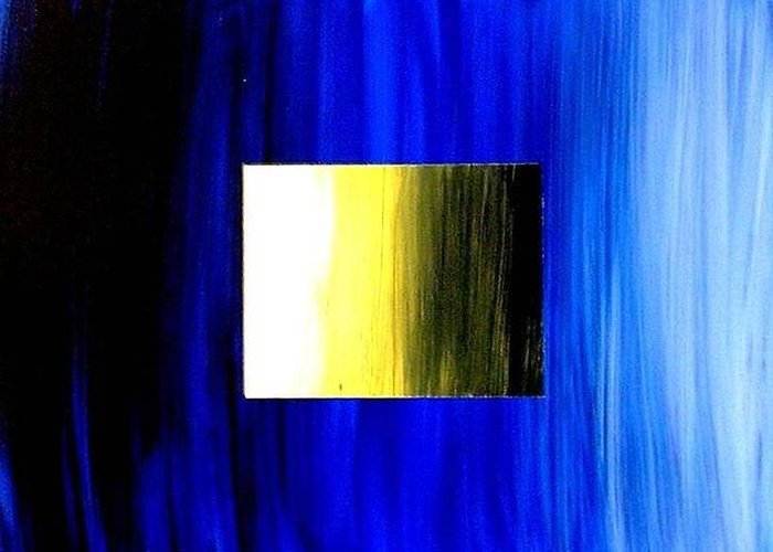 Abstract Greeting Card featuring the painting Abstract 3d Golden Blue Square by Teo Alfonso