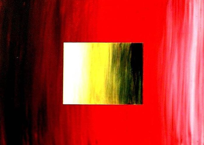 Abstract Greeting Card featuring the painting Abstract 3d Golden Red Square by Teo Alfonso