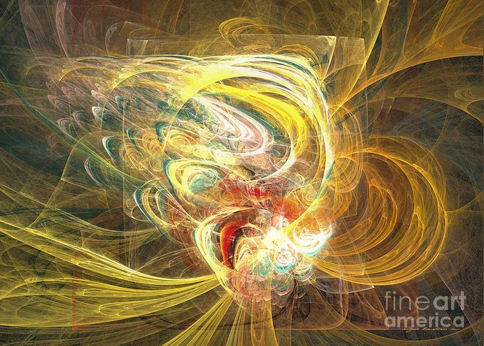 Abstract Fine Art Greeting Card featuring the mixed media Abstract Art - In Full Bloom by Abstract art prints by Sipo