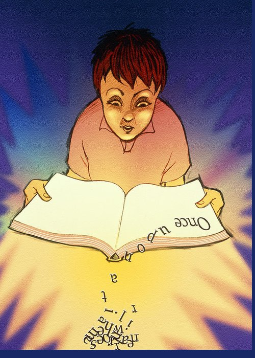 Dyslexia Greeting Card featuring the photograph Abstract Artwork Of A Dyslexic Boy Reading A Book by David Gifford
