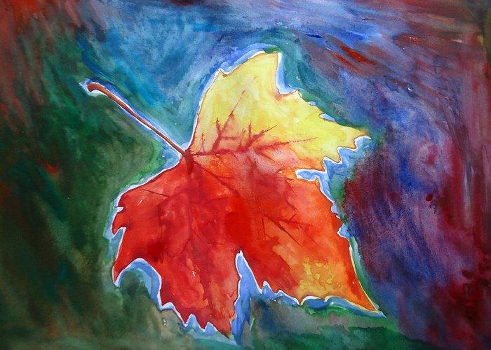 Shakhenabat Greeting Card featuring the painting Abstract Autumn by Shakhenabat Kasana