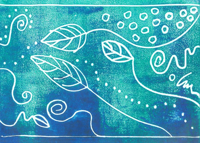 Block Print Greeting Card featuring the mixed media Abstract Block Print In Blue by Ann Powell
