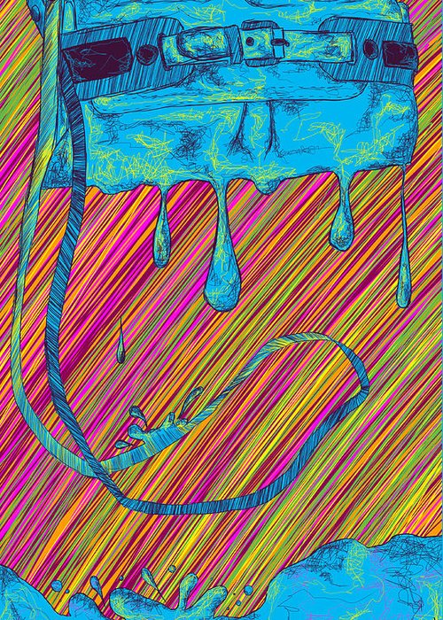 Abstract Handbag Drips Color Greeting Card featuring the painting Abstract Handbag Drips Color by Kenal Louis