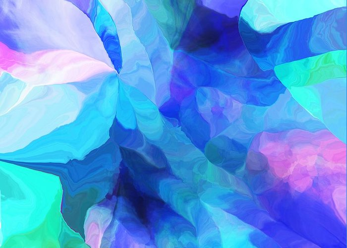 Fine Art Greeting Card featuring the digital art Abstract In Blues 052612 by David Lane
