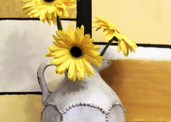 Photo Greeting Card featuring the photograph Abstract Yellow Daisies by Marsha Heiken