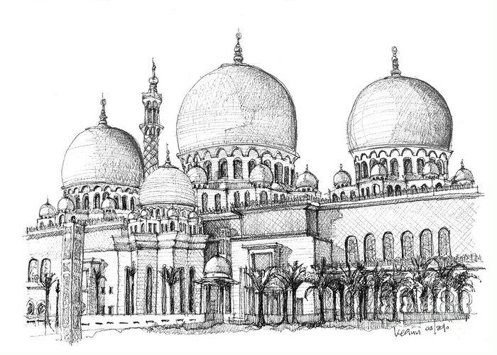Abu Dhabi Greeting Card featuring the drawing Abu Dhabi Masjid In Ink by Adendorff Design