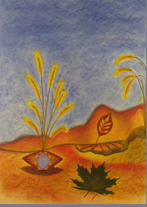 Harvest Greeting Card featuring the painting Abundance by Margrit Schlatter
