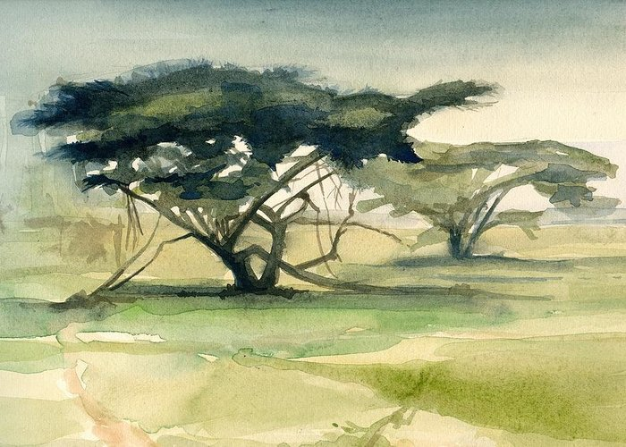 Landscape Greeting Card featuring the painting Acacia by Stephanie Aarons