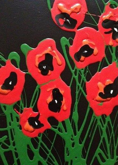 Poppies Greeting Card featuring the painting Accidental Poppies On Black by Kelli Perk