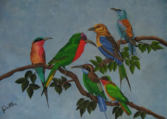 Acrobat Birds Greeting Card featuring the painting Acrobats by Sergio Roffe