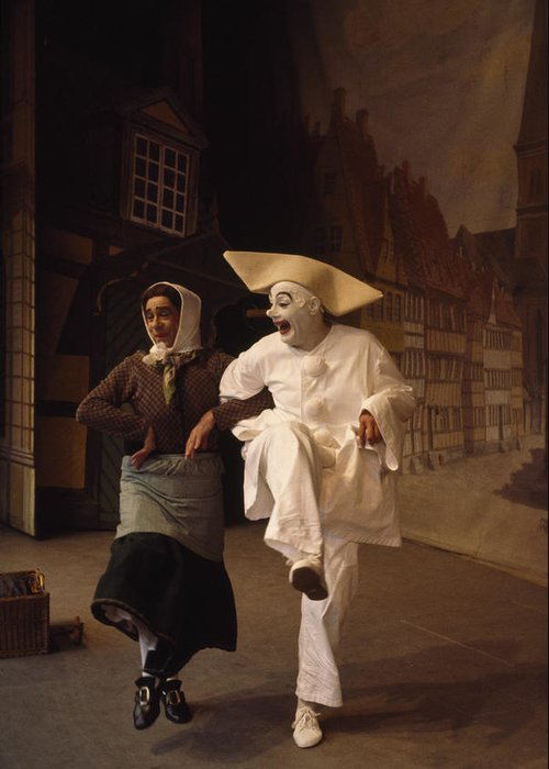 Indoors Greeting Card featuring the photograph Actors Perform Pantomimes At Tivoli by Sisse Brimberg