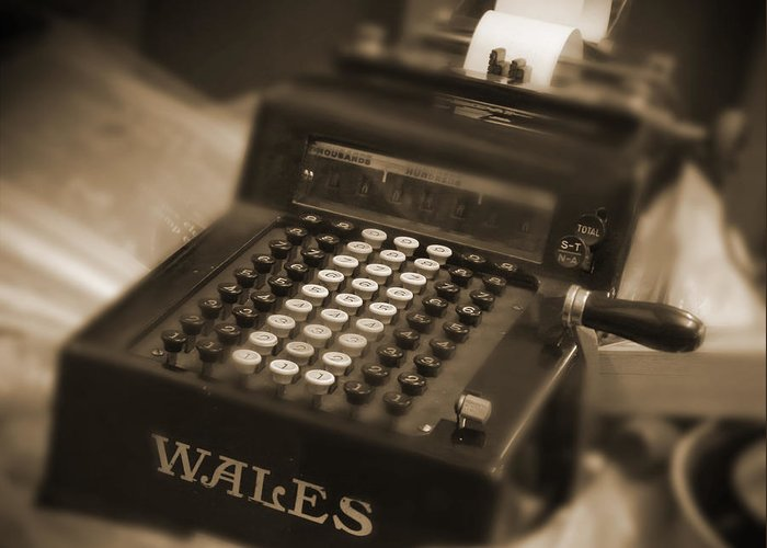 Wales Adding Machine Greeting Card featuring the photograph Adding Machine by Mike McGlothlen
