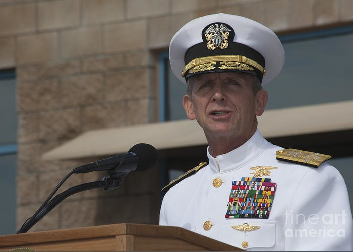 Military Greeting Card featuring the photograph Admiral Eric Olson Speaks by Michael Wood